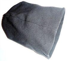 Oversized Beanie Bob Hat Ribbed Ski Knit Grey Mens One Size Super Stretch S-xl