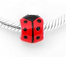 STERLING SILVER LADYBUG ENAMEL BEAD FITS ALL EUROPEAN BRACELETS