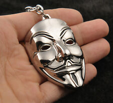 New Silver V for Vendetta Mask Metal Keychain Key Ring Ornament Decoration