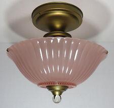 Vintage ART DECO Glass Ceiling Light Fixture Satin Pink Color