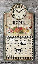 Wanduhr Uhr Küchenuhr m. Kalender Nostalgie Retro Landhaus HOME Beige Blumen