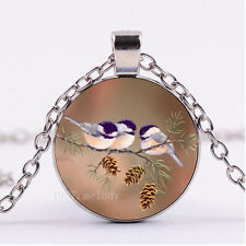 Photo Cabochon Glass necklace Silver Fashion pendant(chickadees pinecones