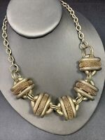Women's Necklace Vintage Chunky Pale Gold Tone  Runway 16""