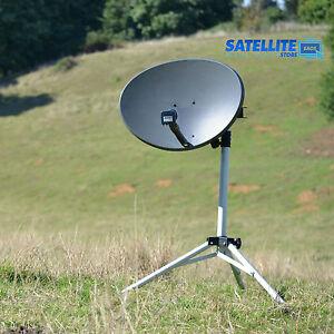 60cm Satellite dish quad LNB & tripod stand kit For Sky portable camping caravan