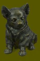 Handmade Hot Cast Bronze Chihuahua Puppy Dog Figurine Sculpture Statue Decor Art