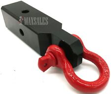 """Red D-Ring 2-1/2"""" Solid Shank Shackle Capacity 13,000 lb 2.5"""" Receiver Hitch"""