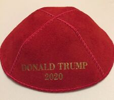 Donald Trump 2020 Yarmulke English Red Suede Gold Emboss.OUR ORIGINAL NEW DESIGN