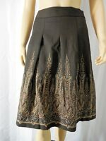 ANN TAYLOR LOFT Skirt 4 P petite brown pleats A Line embroidery NEW NWT