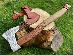 Handmade Carved High Carbon Steel Viking Axe Camping Crafts Collectible Gift
