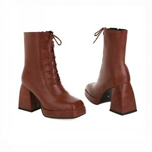 Women's Square Toe Casual Gothic Chunky High Heel Platform Ankle Boots 43 42 41