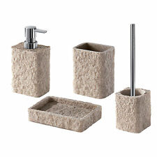 Set 4 accessori  resina e sabbia Gedy Aries beige effetto pietra design moderno