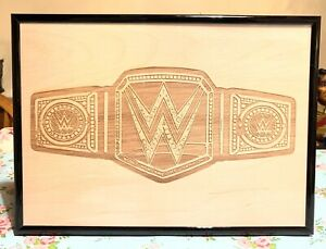 WWE Championship Belt Engraved Wooden Photo Replica A4 Framed Aew Wcw Title Sign