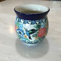 NEW C.A. POLISH POTTERY 11 oz Bubble Mug- Unikat-#3271-Floral w Hummlngbird