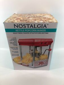 Countertop Popcorn Maker Machine 2.5-Oz Red Stainless Kettle Vintage Collection