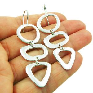 Long Triple Drop 925 Sterling Silver Earrings
