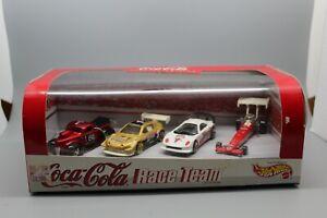 HOT WHEELS COCA COLA RACE TEAM 4 CAR SET FORD TOYOTA CALAWAY C7 DRAG CAR  NIP