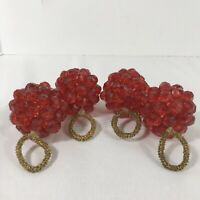 Napkin Ring Red Bead Berry Christmas Set of 4 Vintage