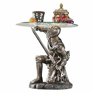 """CL5307 - Battle-Worthy Knight Sculptural Table w/16"""" Dia. Pencil-Edge Glass Top"""