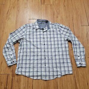 Tasso Elba Button Down Dress Shirt Men's XL 17-17 1/2 White Check/Plaid