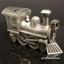 ADORABLE  Engravable Money Box Train Pewter Baby Shower Christening Gift