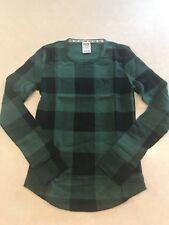 Victoria's Secret PINK Cozy Green Waffle Sleep Buffalo Check Plaid Shirt Top XS