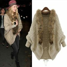 UK Women's Warm Gilet Outwear Long Slim Vest Faux Fox Fur Waistcoat Jacket Coat