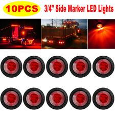 "10Pcs Mini LED Red 3/4"" Round Side Marker Lights Bullet Trailer Clearance Light"