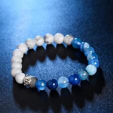 Buddha Bead Bracelet Blue/White