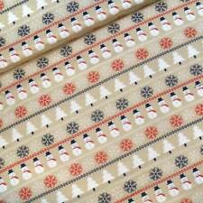 100% Cotton Fabric Heritage Snowman Christmas Trees Snowflakes