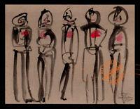 Chorus Dancers 2015 ABSTRACT Watercolor PAINTING Dead Sullivan Show #6 Macabre