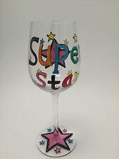 "Handpainted Multi-Color Superstar Star ""L"" Initial Wine Glass Fun Friend Gift"