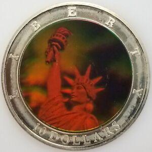 2001 Republic of Liberia $10 coin, Statue of Liberty holograph design! 40 mm!