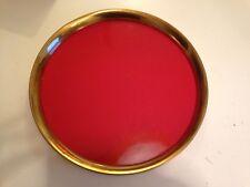 Ancien Plateau métal doré + panneau laqué rouge vintage années 50