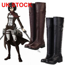 ATTACK ON TITAN COSPLAY SHOES WOMEN MEN BOOTS FLAT KNEE HIGH STRETCH RIDING BOOT