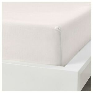 Ikea Puderviva Double Size Linen Fitted Sheet WHITE 135 x 190 x 36cm 003.984.82