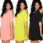 UK6-22 Womens Plus Size Chiffon Baggy T-Shirts Blouses Dresses Off Shoulder Tops