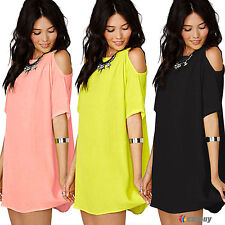 Womens Cold Shoulder Chiffon Loose T-Shirt Blouses Dress Summer Tunic Tops Dress