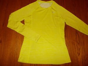 UNDER ARMOUR COLD GEAR LONG SLEEVE YELLOW FITTED TOP WOMENS MEDIUM EXCELLENT