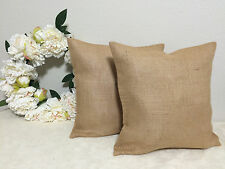 Set of 2 16x16 Burlap Throw Pillow Covers French Country Jute Handmade Decor