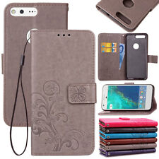 For Google Phones Luxury Four Leaf Clover Leather Magnetic Stand Card Slots Case