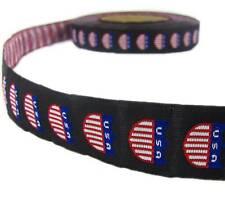 "1 Yd Patriotic American USA Woven Jacquard Trim Ribbon 7/8""W"