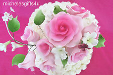 Shades of Pink Gum Paste Roses, Rosebuds, White Flowers Cake Decorating Bouquet