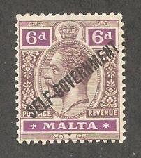 Malta 1922,KG-V,6p,Scott # 80,VF-XF MLH*OG (MT-1)