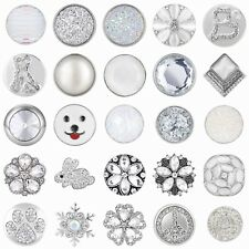 White Style Rhinestones Snaps Buttons 18mm for Interchangeable Snaps Jewelry