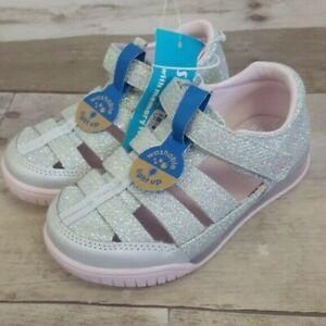 Surprize Stride Rite Toddler Girls Val Light-Up Glitter Sandal Silver CHOOSE SIZ