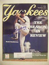 SCOTT SANDERSON signed 1991 YANKEES baseball magazine Autographed AUTO CUBS A's