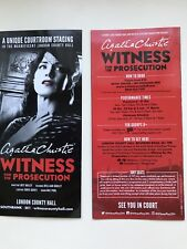 2x flyer Agatha Christie WITNESS FOR THE PROSECUTION London County Hall