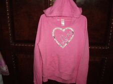 EUC Girls Size 14 PS Aeropostale Pink Hooded Sweatshirt Heart Love
