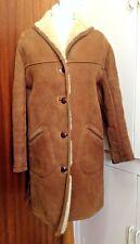 Ladies TR VTG 60's/70's Tan/Cream Heavy Sheepskin Duffel Coat UK 12`- 14
