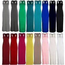 Womens Long Maxi Dress Ladies Jersey Racer Back Sleeveless Long Vest Maxi Dress